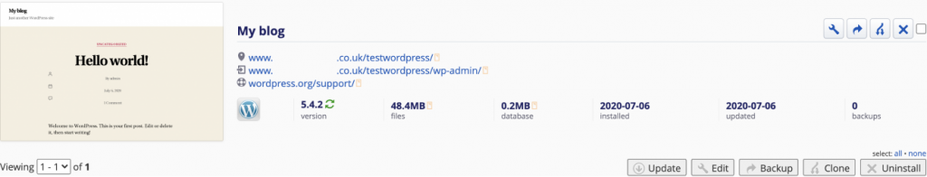 Installing WordPress using Installatron 7