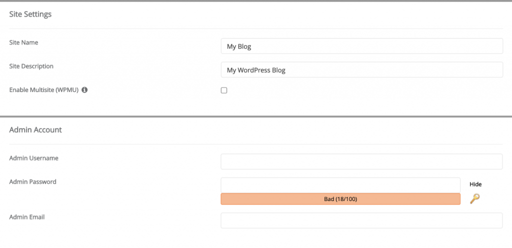 Installing WordPress using Softaculous 4