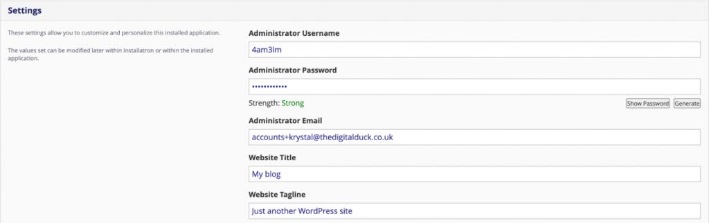 Installing WordPress with Installatron 5