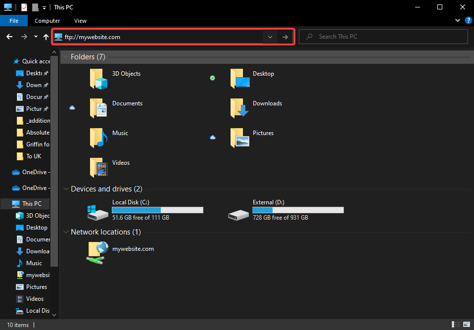 How to connect to FTP with Windows Explorer 10