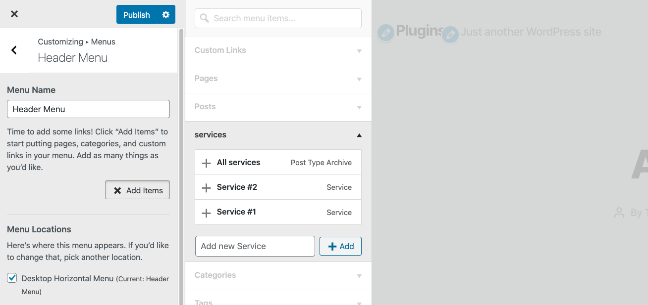 Add Custom Post type links links to WordPress Menu