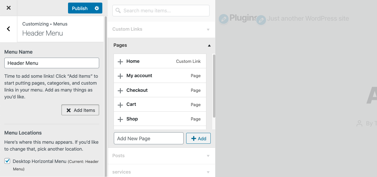 Add Pages links to WordPress Menu