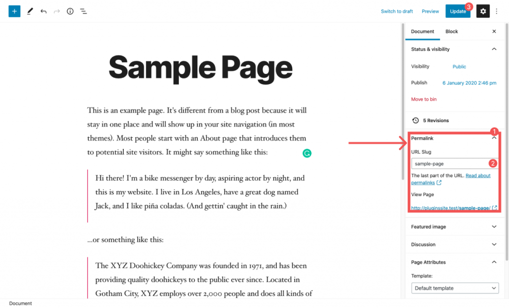 How to Change page URL with WordPress Editor