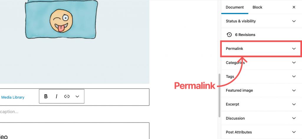 WordPress Default editor Permalink