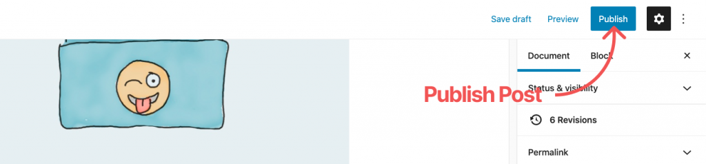 WordPress Default editor Publish post
