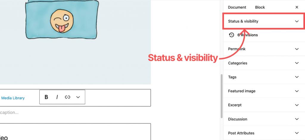 WordPress Default editor Status Visibility